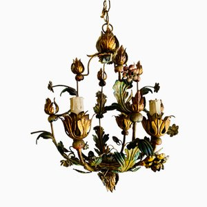 Vintage Italian Brass and Iron Chandelier with Profusely Polychrome Decoration
