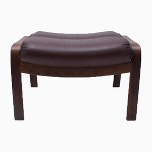 Swedish Leather Stool from Göte Möbler, 1960s