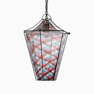 Murano Glass Lantern Ceiling Lamp by Fulvio Bianconi for Venini, 1950s