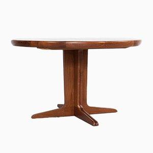 Mid-Century Danish Teak Round Extendable Dining Table, 1960s