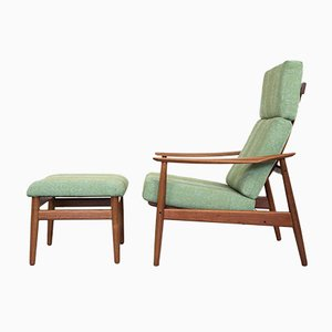 Mid-Century Teak Lounge Chair & Ottoman by Arne Vodder for France & Søn, 1960s, Set of 2