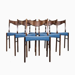 Mid-Century Danish Rosewood & Blue Fabric Dining Chairs, 1960s, Set of 6