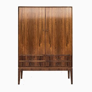 Mid-Century Danish Rosewood Cabinet with 2 Doors & Drawers with Brass Handles, 1960s
