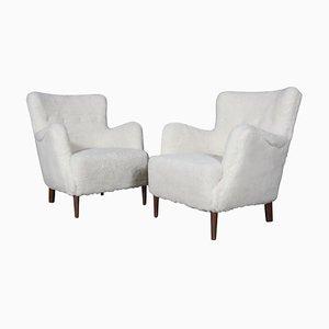 Danish Lamb Wool Lounge Chairs, 1940s, Set of 2