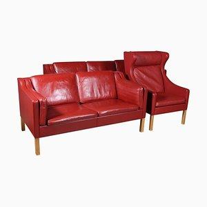 Leather Living Room Set by Børge Mogensen for Fredericia, Set of 3