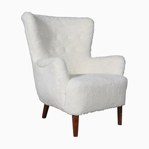 Danish Lamb Wool Lounge Chair, 1940s