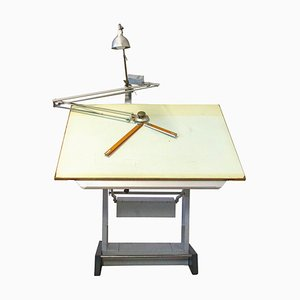 Vintage Industrial Architect's Drafting Table Sautereau or Kitchen Island, 1950s