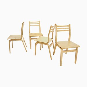 Mid-Century Wooden Dining Chairs, 1970s, Set of 4
