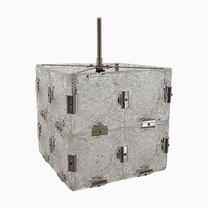 Mid-Century Cube Glas Kronleuchter von Kamenický Šenov, 1960er