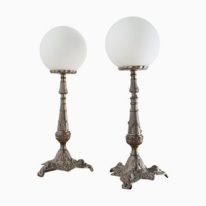 Antique Metal Table Lamps, Set of 2