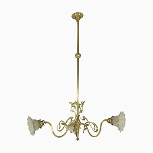 Art Nouveau Brass Chandelier, 1900s