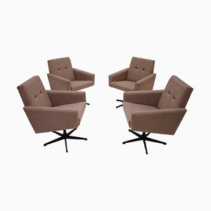 Mid-Century Rotating Armchairs, 1980s, Set of 4