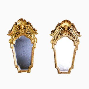 Antique Golden Wood Mirrors, Set of 2