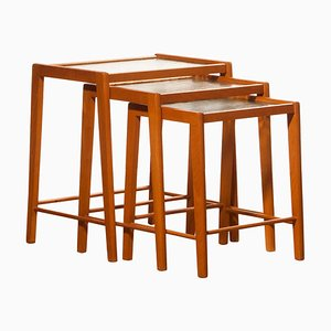 Swedish Beech and Glass Nesting Tables, 1960s, Set of 3