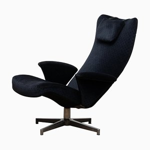Swedish Black Velvet Contourett Ronto Swivel Chair by Alf Svensson for Dux, 1960s