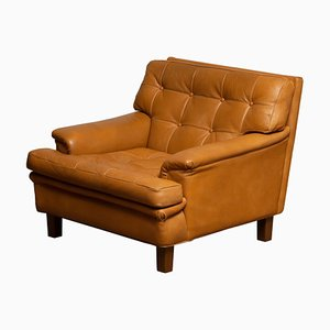 Swedish Camel Quilted Buffalo Leather Model Merkur Lounge Chair by Arne Norell, 1960s