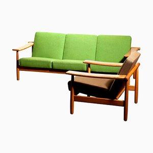 Danish Oak Sofa and Lounge Chair Set, 1960s, Set of 2