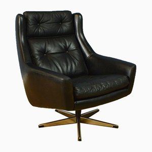 Mid-Century Danish Black Leather Swivel Chair from Eran, 1960s