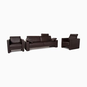Dark Brown Leather 3-Seat Sofa & Armchairs from Rolf Benz, Set of 3