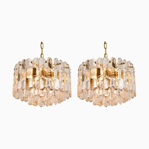 Gilt Brass & Glass Palazzo Chandeliers or Pendant Lamps by J.T. Kalmar, 1970s, Set of 2