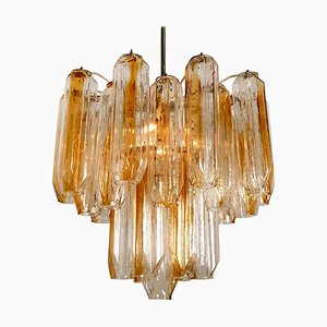 Clear and Orange-Amber Angled Glass Tubes Chandelier by J.T. Kalmar, 1970s