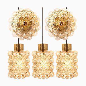 Glass Light Fixtures by Helena Tynell for Glashütte Limburg, 1960s, Set of 5