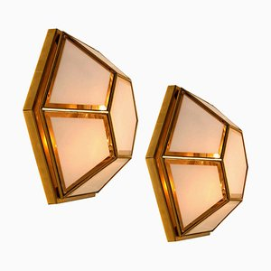 White Hexagonal Glass Flush Mounts or Wall Lights from Glashütte Limburg, 1970s, Set of 2