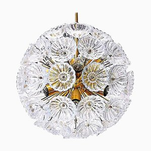 Glass Flower Starburst Sputnik Chandeliers, Germany, 1960s, Set of 2