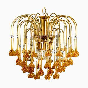 Chandelier with Murano Burned Orange Glass Flowers in the Style of Venini, 1960s