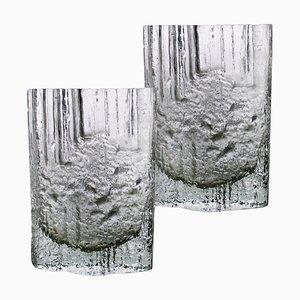 Vases en Verre Givré par Tapio Wirkkala pour Iittala, 1970s, Set de 2