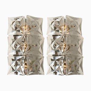 Vernickelte Wandlampen aus Kristallglas von Kinkeldey, 1970er, 2er Set