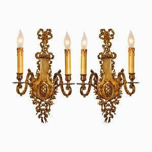 Antike Französische Louis XV Bronze Wandlampen, 2er Set