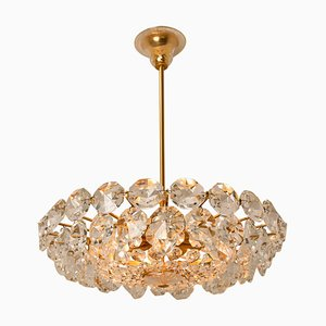 Brass and Crystal Glass Chandelier by Palwa for Bakalowits & Sohne, Austria, 1960s