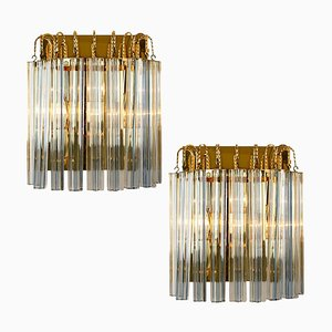 Murano Glass & Gilt Brass Sconces with Grey Stripe in the Style of Venini, Italy, 1970s, Set of 2
