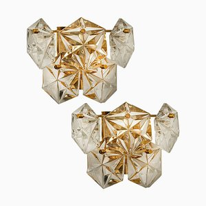 Gilt Brass Metal Faceted Crystal Glass Sconces from Kinkeldey, 1960s, Set of 2
