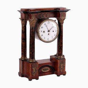 Horloge en Forme de Temple 19ème Siècle en Placage de Noyer Bronze, France