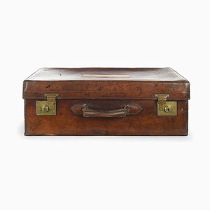 Antique English Wood and Leather Suitcase, 1910s