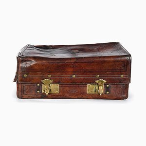English Leather Suitcase with Interior Pocket, 1880s