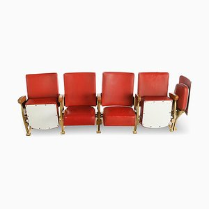Red Leatherette Cinema Seats, 1950s