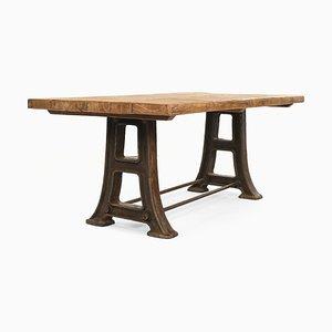 Table en Bois avec Pieds en Fonte, 1920s