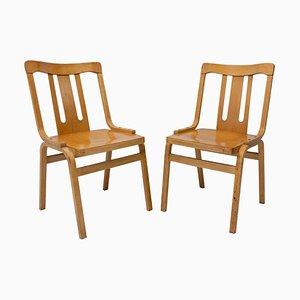 Tschechoslowakische Bugholz Esszimmerstühle von Ton, 1970er, 2er Set