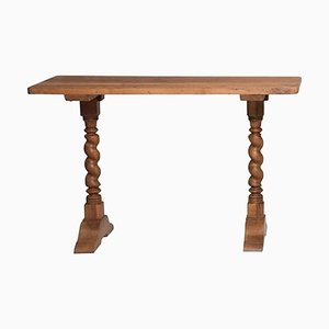 Late-19th Century Italian Walnut Spool Legs Console Table