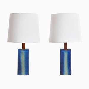 Grandes Lampes de Bureau Bleues Modernes de Søholm, Danemark, 1960s, Set de 2