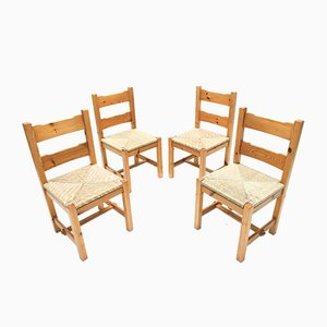 Pinewood and Rush Dining Chairs, 1970s, Set of 4