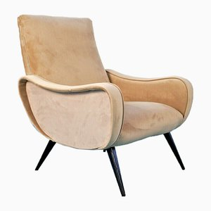 Vintage Beige Velvet Lady Chair by Marco Zanuso, 1950s