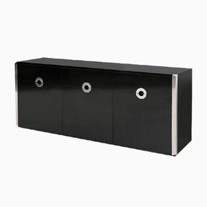 Vintage Italian Black Wood and Steel Sideboard by Willy Rizzo for Mario Sabot, 1970s