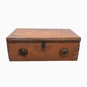19th Century Solid Ash Trunk with Iron Handles