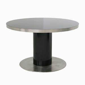 Vintage Italian Round Steel and Black Wood Pedestal Table by Willy Rizzo, 1970s