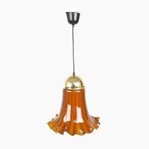Lámpara colgante vintage de vidrio de Peill & Putzler, años 70