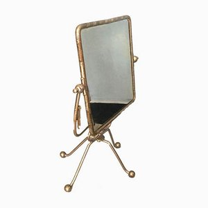 Vintage Tripod Silver Floral Swivel Mirror, 1940s